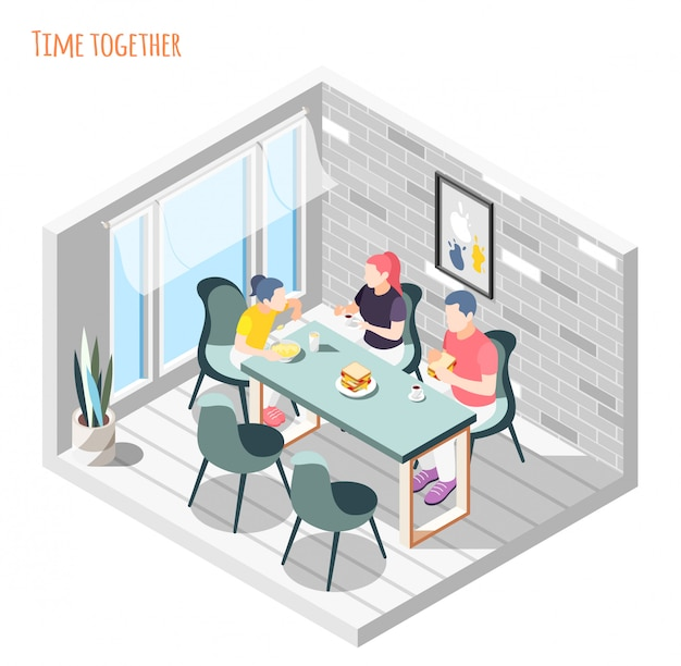 Time together isometric composition with family sitting and having dinner together in kitchen  illustration
