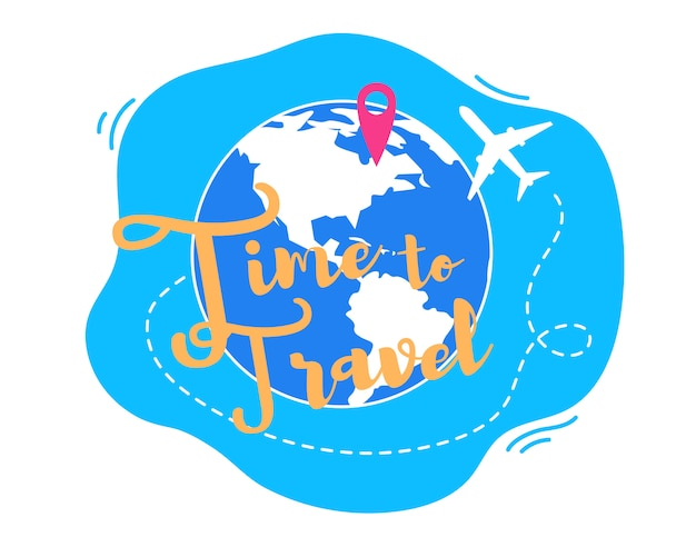 Time to travel around world flat vector concept