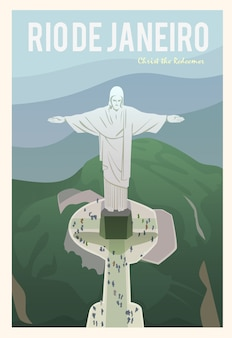 Time to travel. around the world. quality  poster. christ the redeemer.