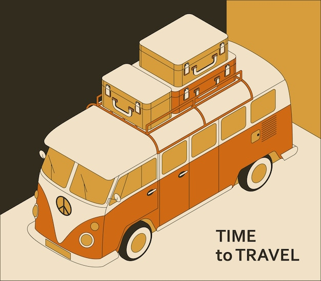 Time to travel background with retro bus and suitcases. tourism concept in isometric style.