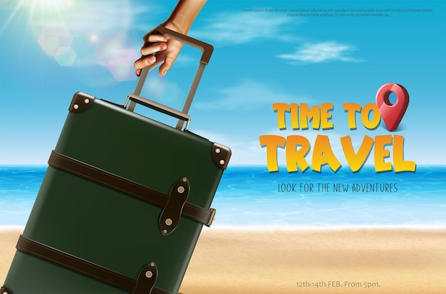 Time to travel banner tourist with luggage on the beach