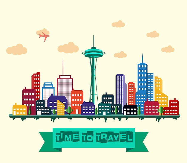 Time to travel banner with colorful city skyline