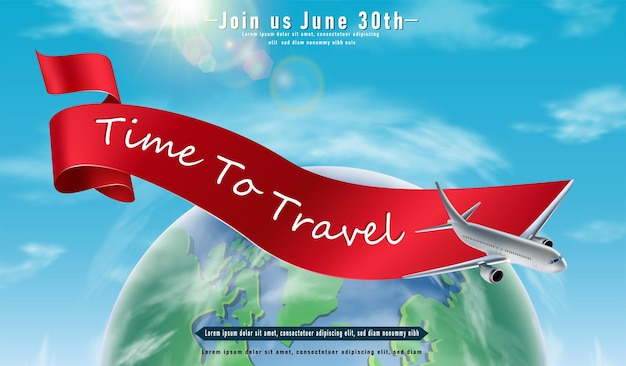 Time to travel banner with green globe and flying plane around and red ribbon horizontal orientatio