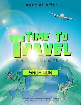 Time to travel banner with green globe and flying planes around vertical orientation