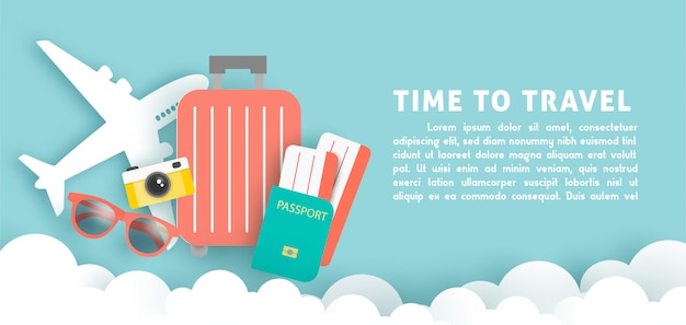 Time to travel banner with traveling items