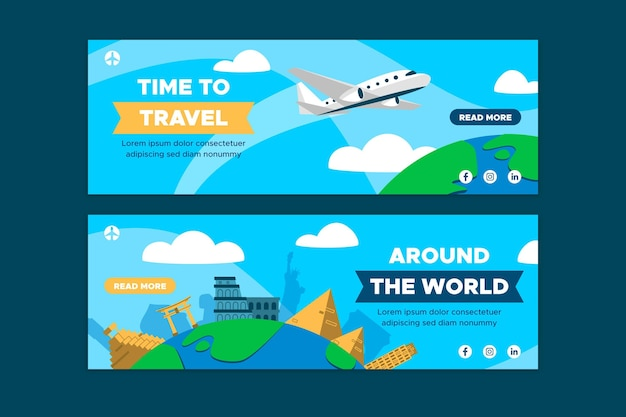 Time to travel banners set