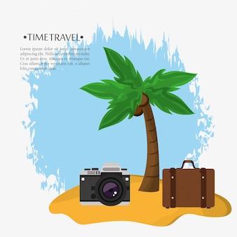 Time travel beach suitcase photo camera