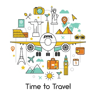Time to travel by plane line art thin vector icons set with airplane