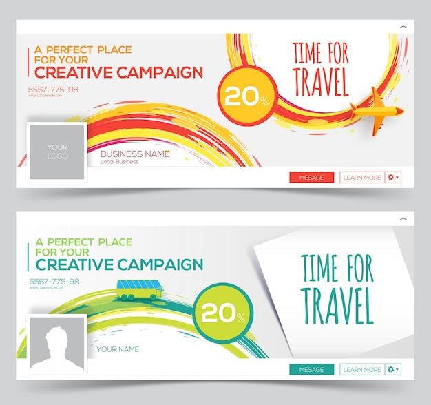 Time for travel. colorful vector watercolor web banner, header layout template. creative cover.