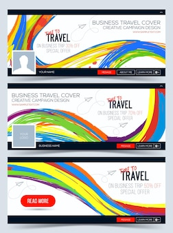 Time to travel colorful web banner header layout template creative cover