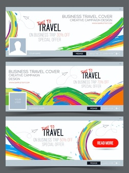 Time to travel colorful web banner header layout template
