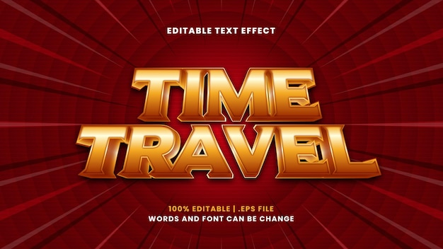Time travel editable text effect in modern 3d style