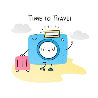 Time to travel. emoji camera with suitcase. vector illustration about vacation. flat, doodle, hand drawn