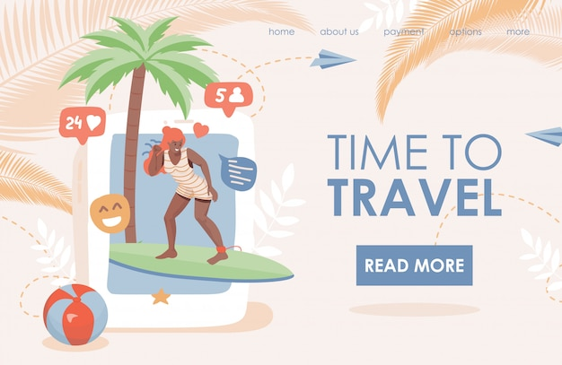 Time to travel flat landing page template. woman in swimming suit doing summer activities, riding on surfboard.