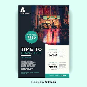 Time to travel flyer template with photo