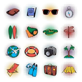 Time to travel icons set. pop art set of time to travel  icons for web