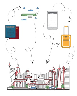 Time to travel illustration in linear style