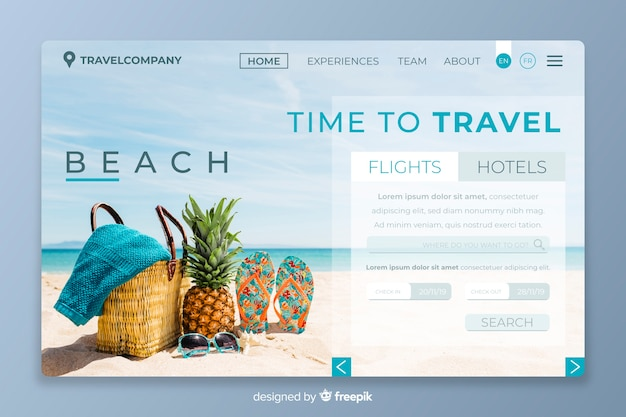 Time to travel landing page with photo