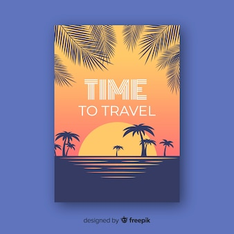 Time to travel lettering text with beach background