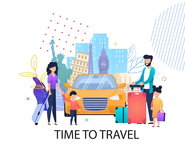 Time to travel motivation flat banner for family