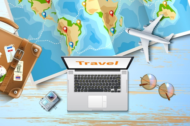 Time to travel online tours poster with pointer pins on folded world map wooden table with laptop