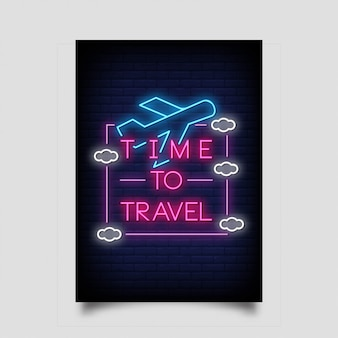 Time to travel for poster in neon style.