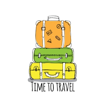 Time to travel set with outline luggage