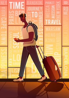 Time to travel. summer vacation. a traveller in an airport. around the world.
