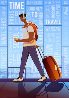 Time to travel. summer vacation. a treveller in an airport. around the world.