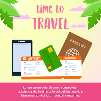 Time to travel text social media banner layout.