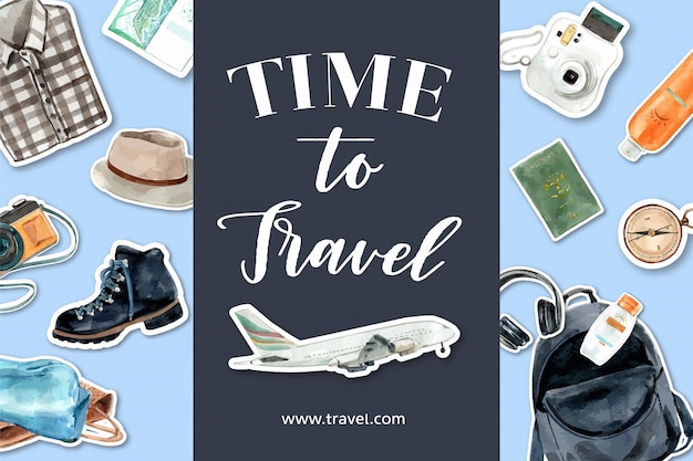 Time to travel. tourism design with plane, camera, backpack, headphone