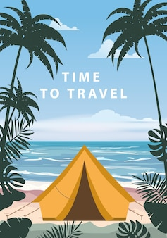 Time to travel tourist tent camping on the tropical beach palms summer vacation beach sea ocean