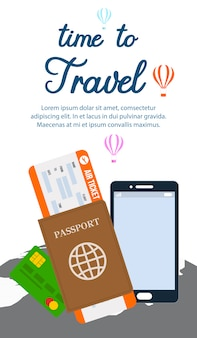 Time to travel vector vertical flyer template.