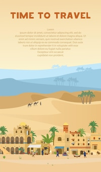Time to travel vertical  banner with illustration of ancient arabic town in desert landscape