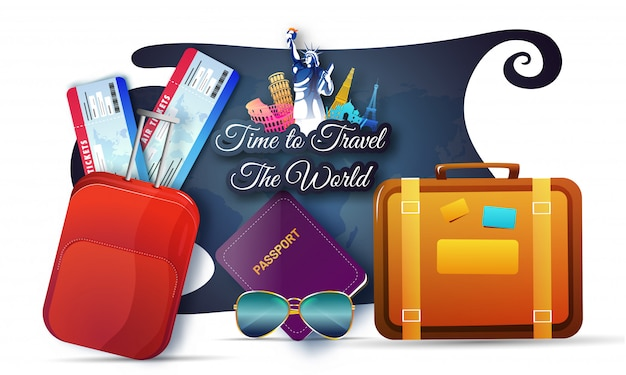 Time to travel the world concept