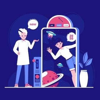 Иллюстрация концепции путешественника во времени