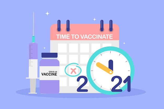 Time to vaccinate 2021 concept.coronavirus vaccination concept.