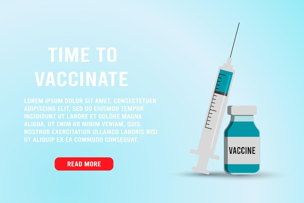 Time to vaccinate banner. syringe with a needle and medicinal tablets. medical flu shot vaccine for the treatment of influenza virus, vector flat illustration. vaccination concept design, poster.
