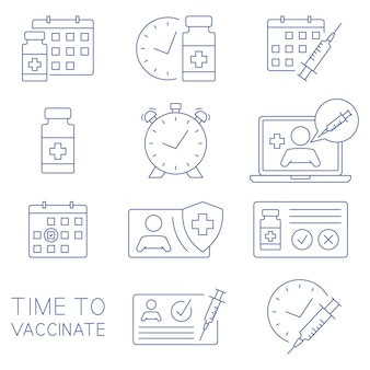 Time to vaccinate icons. medical card, syringe, vial, calendar, online doctor and other clinical icons. immunization concept. health care and protection. medical treatment. vector