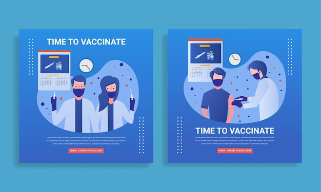 Time to vaccinate vaccine banner flat design