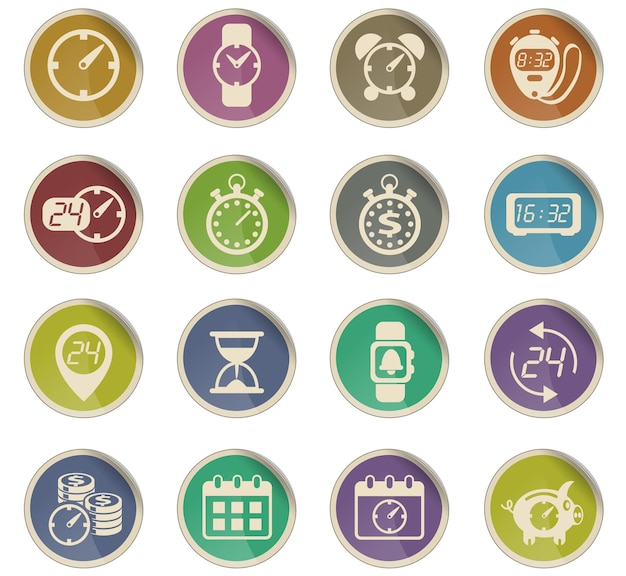 Time vector icons in the form of round paper labels