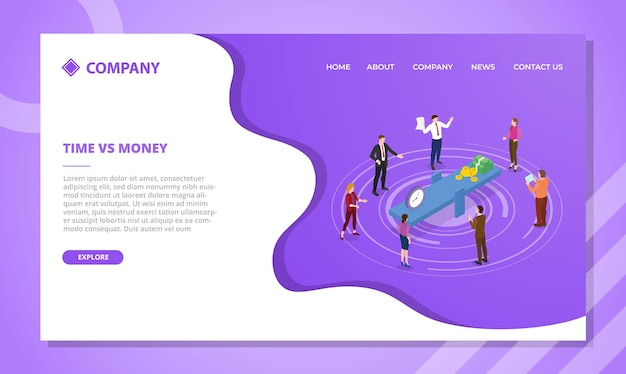 아이소메트릭 스타일 벡터가 있는 웹 사이트 템플릿 또는 방문 홈페이지에 대한 시간 대 돈 개념