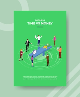 Time vs money concept for template banner and flyer with isometric style vector