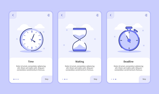 Time waiting deadline onboarding screen for mobile apps template banner page ui with three variations modern flat outline style