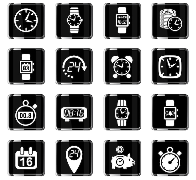 Time web icons for user interface design