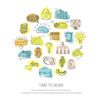 Time to work decorative icons set