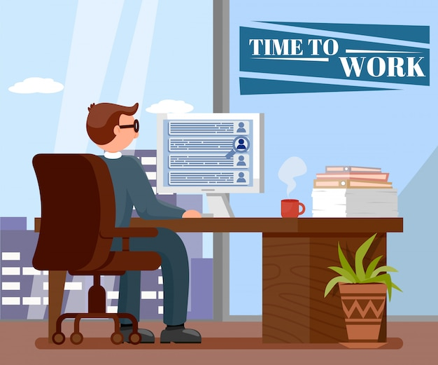 Time to work flat vector illustration with text