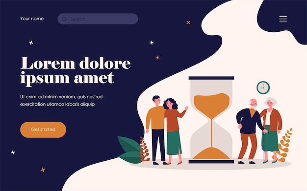 Time of young and senior people. couples standing near hourglass flat vector illustration. age, lifespan, generation concept for banner, website design or landing web page