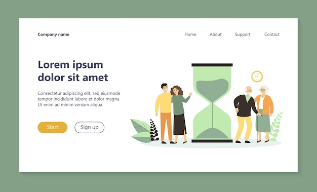 Time of young and senior people landing page