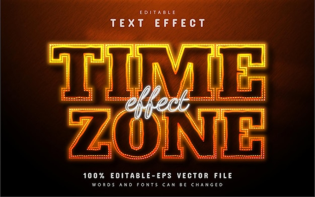 Time zone text effect neon style